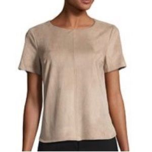 1.STATE Short-Sleeve Faux-Suede Top